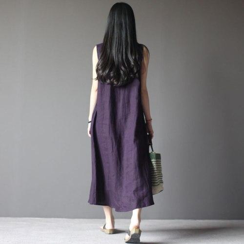 Women Summer Vintage O Neck Sleeveless Loose Cotton Linen Dress