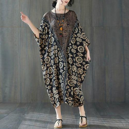 Silk Satin Dress Summer Vintage Floral Print Dresses for Women Batwing Long Dress