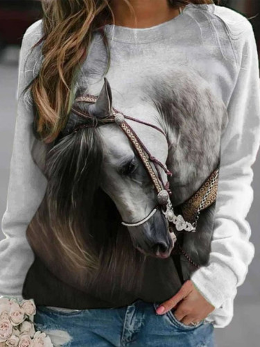 Fashion women's pullover round neck cute horse print stitching long sleeve pullover