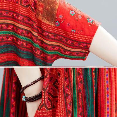 Vintage Floral Print Summer Boho Dress Women Casual Beach Cotton Linen Long Dresses