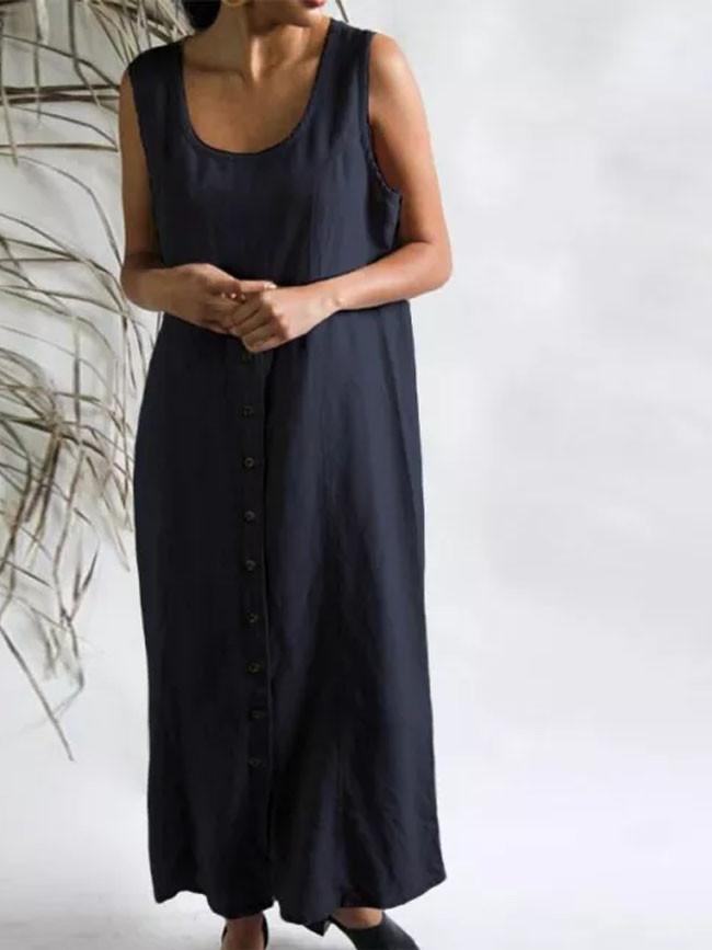 Summer Sleeveless Cotton Linen Long Dress Women Elegant Buttons Solid Sundress