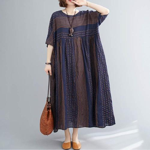 Polka Dot Striped Summer Dress Women Cotton Casual Vintage Dress