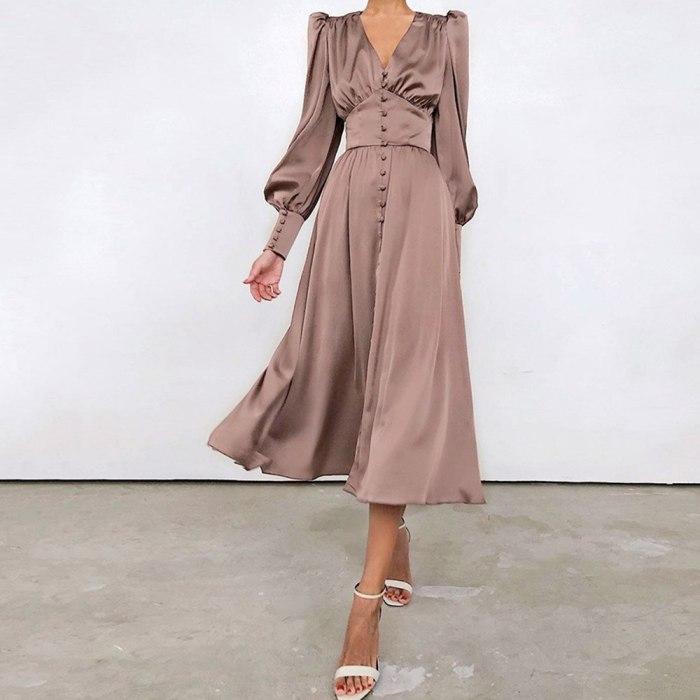 Elegant Retro Satin Dress Lantern Sleeves High Waist Slim V Neck Vintage Dresses