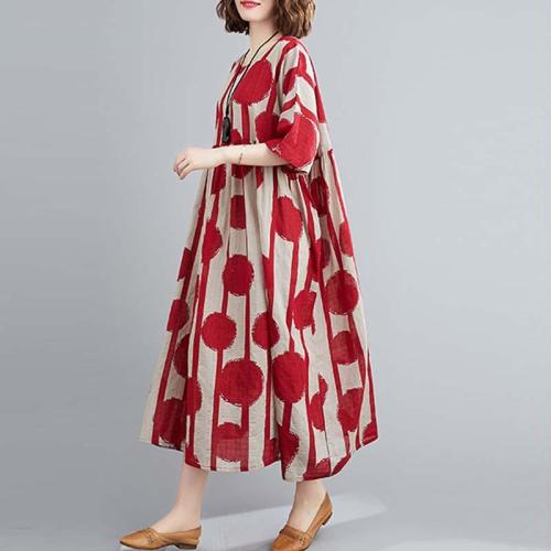 Vintage Polka Dot Simmer Dress Cotton Casual  Women Long Dress
