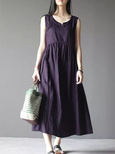 Women Summer Vintage O Neck Sleeveless Loose Cotton Linen Dress