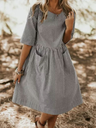 Women Summer Elegant O Neck Half Sleeve Party Casual Striped Dress