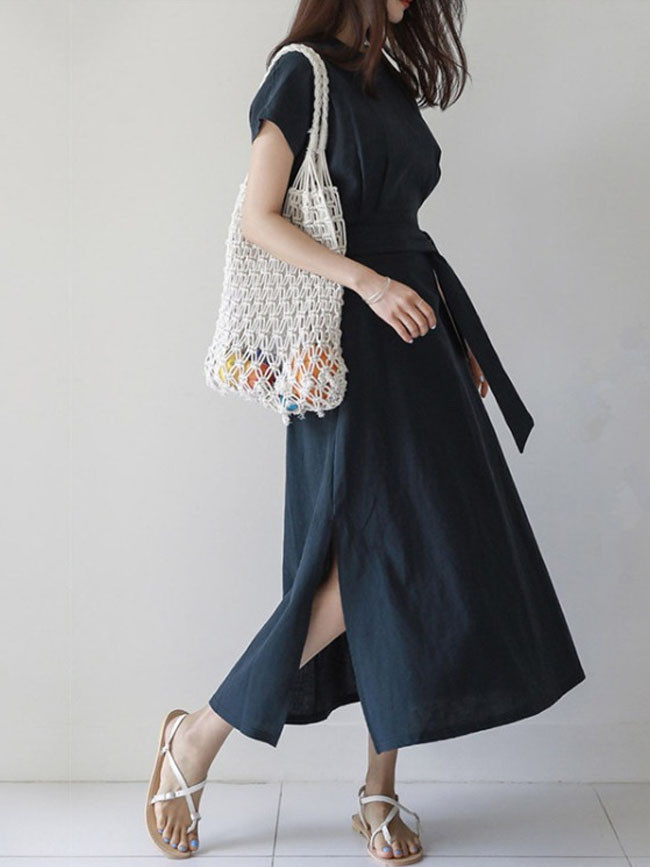 Bohemian Sundress Elegant Women Casual Ruffle Maxi Dress With Belt Dress Party