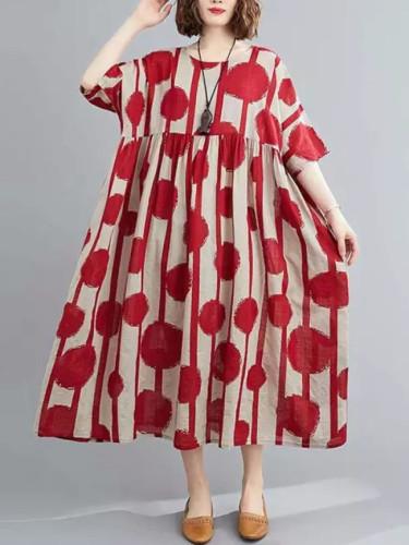 Vintage Polka Dot Simmer Dress Cotton Casual  Women Long Dress