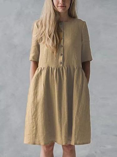 Women Vintage Cotton Shirt Dress Summer Short Sleeve ButtonS Loose Casual