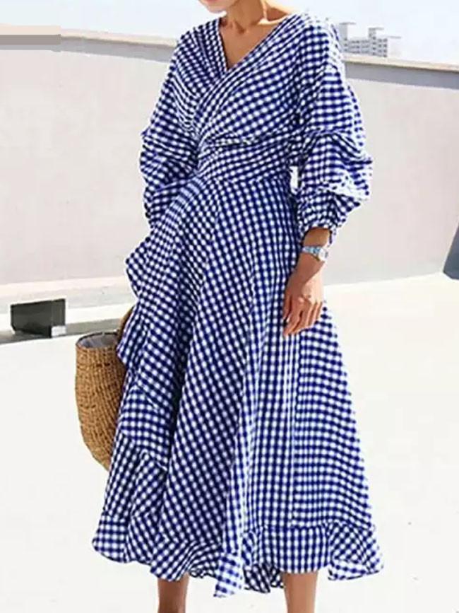 Elegant Ladies Dress Vintage Printed Beach Party Sundress
