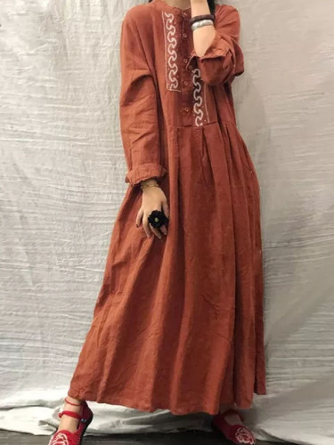 Autumn Vintage Floral Embroidery Dress Long Sleeve Sundress Casual Retro Cotton Linen