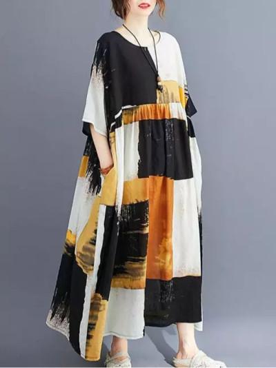 Casual Cotton Dress Plaid Vintage Woman Dress