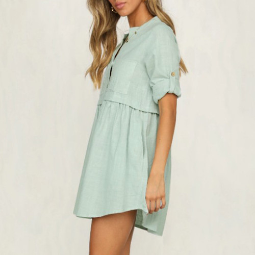 Streetwear solid summer dress Women shirt collar ruffled causal party dress