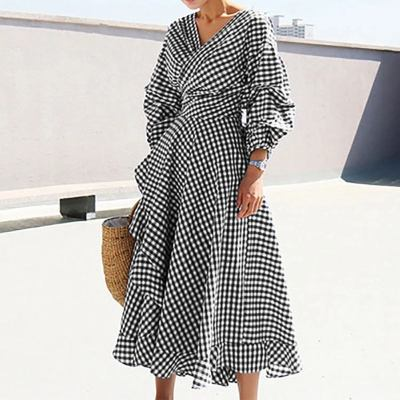 Elegant Ladies Dress Vintage Printed Beach Party Sundress