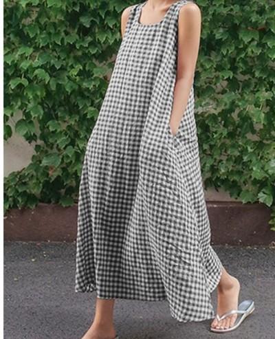 Summer Sleeveless Plaid Dress Vintage Checked Long Ladies Casual Sundress