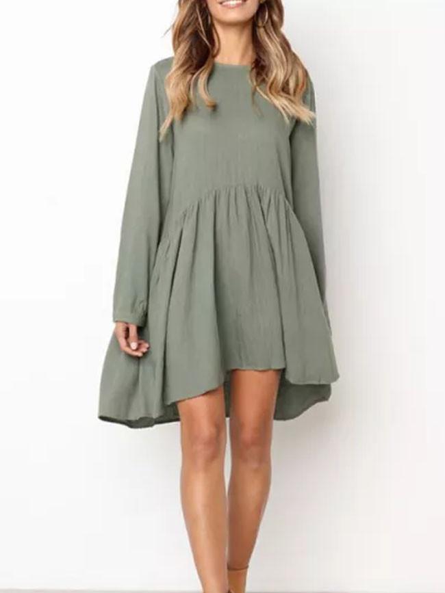 New Cute O-Neck Long Sleeve Dress Elegant Loose Lady Beach Dresses
