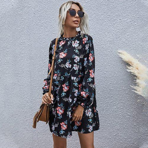 New Autumn Winter Fashion Floral Dress Casual Full Sleeve High Waist Loose Dress