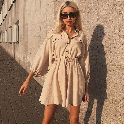 Vintage elagant women mini shirt dress Casual lantern sleeve short dress linen dresses