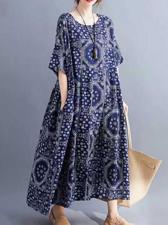 Vintage Casual Summer Dress Cotton Print Ladies Dresses Long Floral Dress