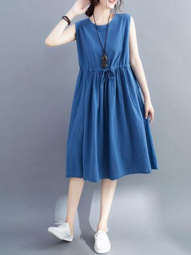 Women Tank Dress Casual O Neck Solid Mini Dresses Loose Beach Sundress