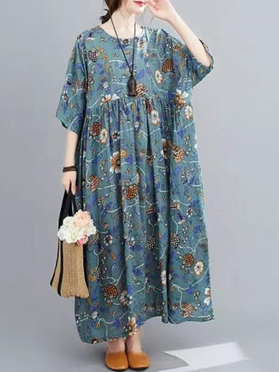 Floral Print Summer Beach Dress Cotton Long Dresse Boho Dress