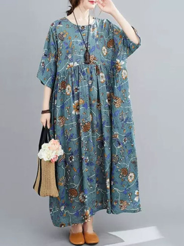 Floral Print Summer Beach Dress Cotton Long Dresse Boho Dress