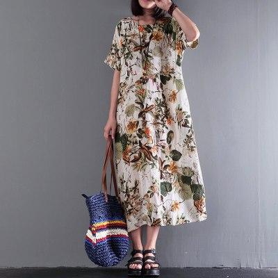Floral Print Bohemian O Neck Short Sleeve Loose Cotton Linen Midi Casual Dress