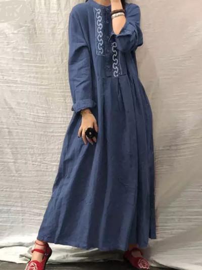 Autumn Vintage Floral Embroidery Dress Long Sleeve Sundress Casual Retro Cotton Linen