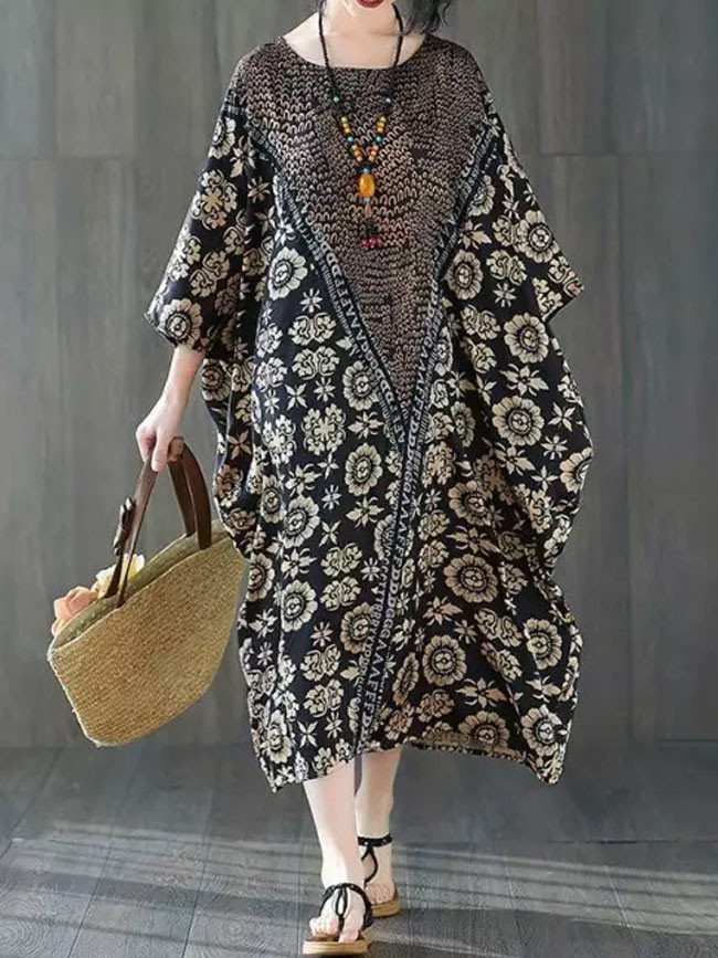 Silk Satin Dress Summer Vintage Floral Print Dresses for Women Batwing Long Dress