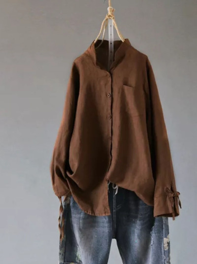 Women Retro Cotton Linen Blouse Collar Long Sleeve Buttons Shirt Casual Tunic