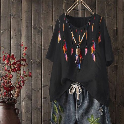 Summer Embroidery Blouse V Neck Shirts Casual Short Sleeve Cotton Linen Tops