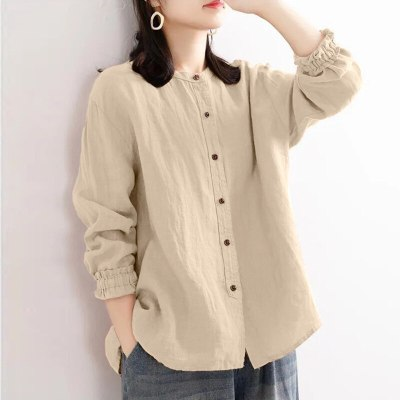 Womens Fashion Ruffle Sleeve Blouses Vintage Solid Cotton Linen Shirts O Neck
