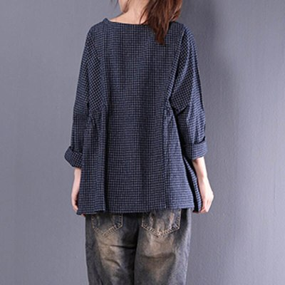 Women Long Sleeve Plaid Autumn Cotton Linen Casual Flounce Blouse Shirt