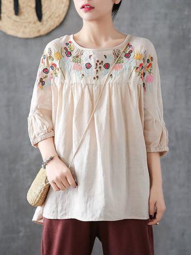 Summer Half Sleeve Embroidery Blouse Women Vintage Tops Casual Ruffles Shirt