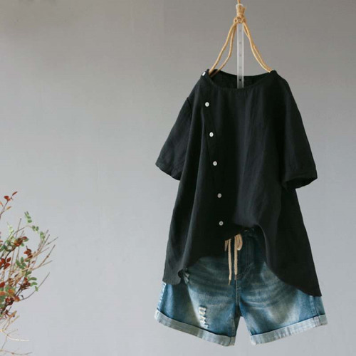 Fashion Summer Linen Women's Irregular Blouse Casual Short Sleeve Button Blouse