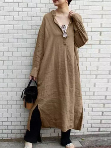 Women Cotton Linen Dress Sundress Vintage Long Sleeve Casual Split Dresses