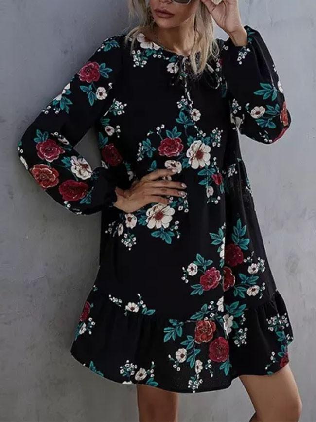 New Autumn Winter Ruffles Women O-neck Full Sleeve High Waist Floral Dress