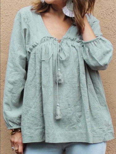 Vintage Women Long Sleeve Ruffles Blouse Autumn V Neck Solid Cotton Linen Shirt
