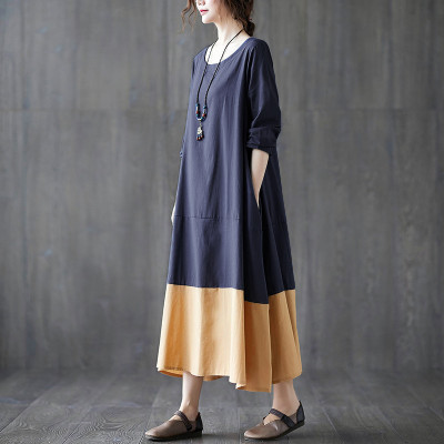 Women Vintage Patchwork Long Dress Casual Dresses Cotton Linen