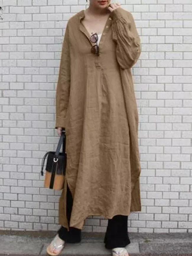 Women Cotton Linen Dress Sundress Vintage Long Sleeve Casual Split Dresses