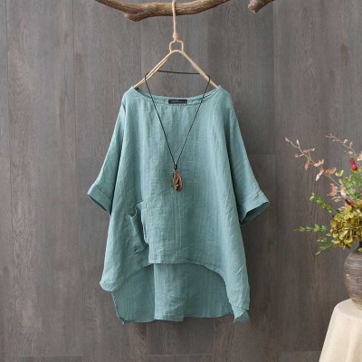 Summer Half Sleeve Cotton Linen Blouse Women Tunic Tops Casual Loose Vintage Shirt