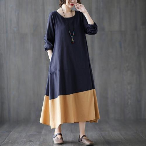 Women Vintage Patchwork Long Dress Casual Dresses Cotton Linen