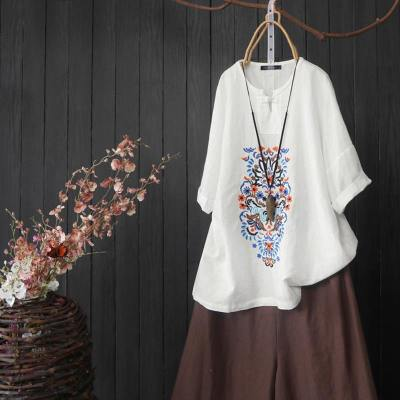 Floral Elegant Embroidery Shirts Casual Summer Solid Half Sleeve Button Tunic