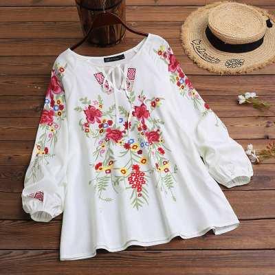 Floral Printed Long Sleeve Shirt Vintage V Neck Lace Up Tops