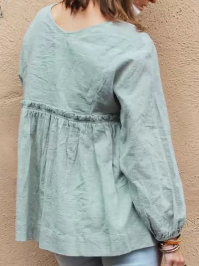 Vintage Women Long Sleeve Ruffles Blouse Autumn V Neck Solid Cotton Linen Shirt