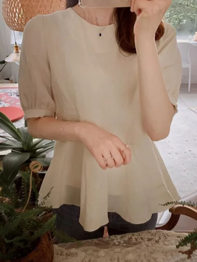 Embroidery Lace Womens Blouses Summer Tops Casual Short Sleeve Linen Cotton Blouse