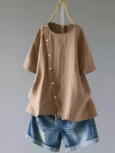 Fashion Summer Linen Women's Irregular Blouse Casual Short Sleeve Button Blouse