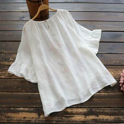 Vintage Half Sleeve Floral Embroidery Blouse Summer Shirt Ruffles Casual Cotton Linen Tops