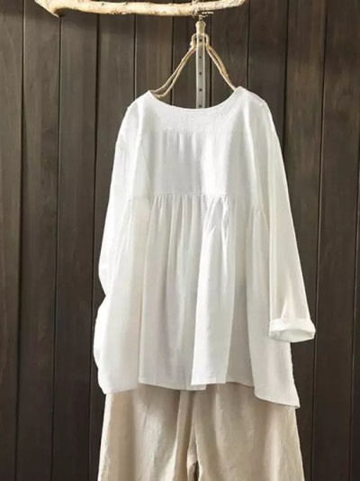 Summer Vintage Women O Neck 3/4 Sleeve Floral Printed Cotton Linen Tops