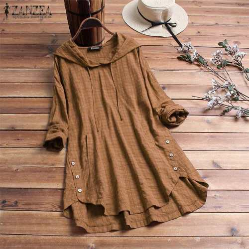 Women Blouse Autumn Plaid Hoodies Long Sleeve Shirt Casual Linen Tunic Tops